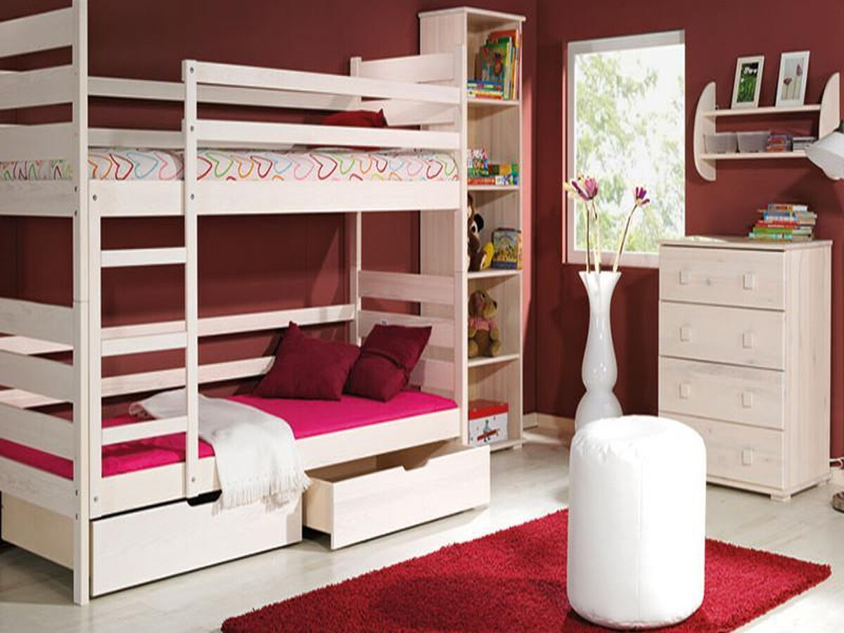etagenbett wei mit leiter echtholz hochbett f r kinder 499 95. Black Bedroom Furniture Sets. Home Design Ideas
