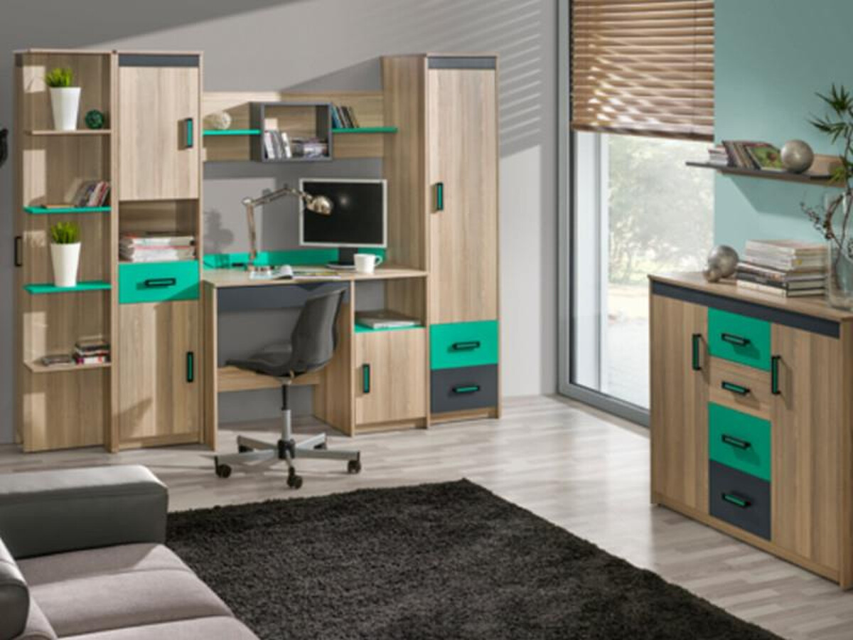 jugendzimmer f r m dchen jungen timo 06 6 tlg esche dunkel gr n 590 05. Black Bedroom Furniture Sets. Home Design Ideas