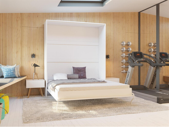 Folding Wall Bed 160cm Vertical White High Gloss Front Incl Comfort