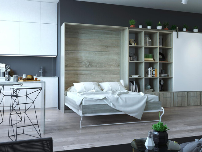 Folding wall bed 160cm Vertical Oak Sonoma/White Fronts incl. Comfort orthopedic bed frame SMARTBett