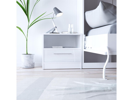SMART bedside table with drawer White vwith high gloss front