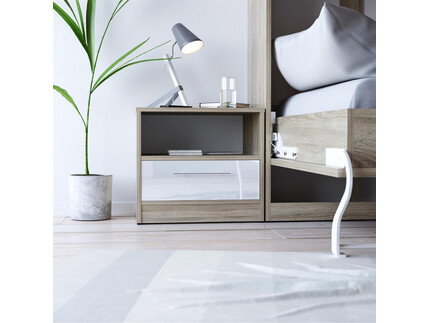 SMART bedside table with drawer Oak sonoma/ White high...