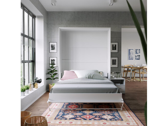 Nightstand White /  White High gloss front SMARTBett folding bed 160x 200cm