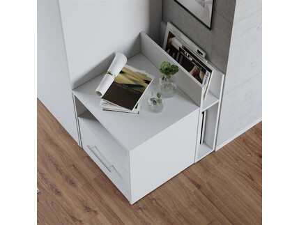 schrankbett 160cm vertikal weiss hochglanzfront smartbett schrankklap. Black Bedroom Furniture Sets. Home Design Ideas