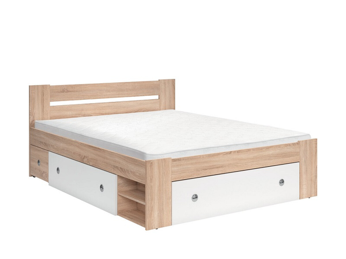 Double bed stefan 160 x 200 cm oak san remo white 495 95 for Beds 120 x 200