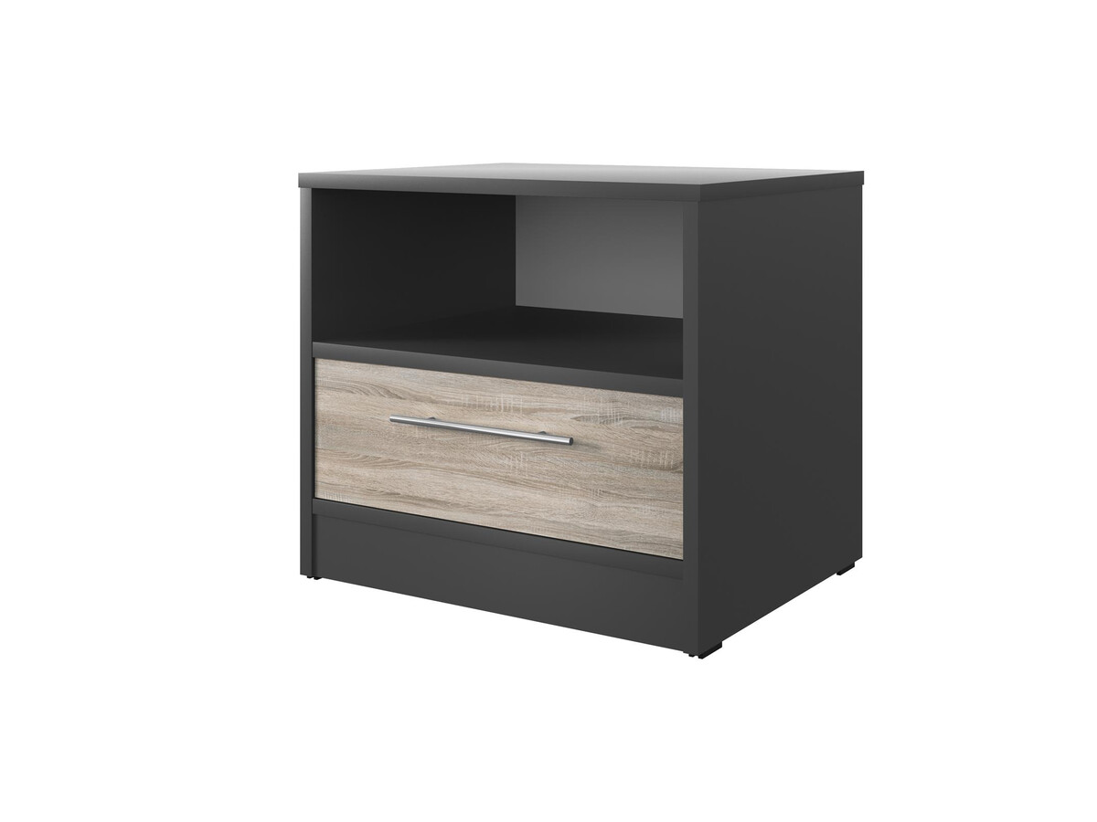 smartbett nachttisch mit einer schublade anthrazit grau eiche sonoma 91 95. Black Bedroom Furniture Sets. Home Design Ideas