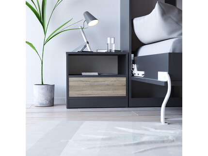 SMART bedside table with drawer Anthracite grey/oak sonoma