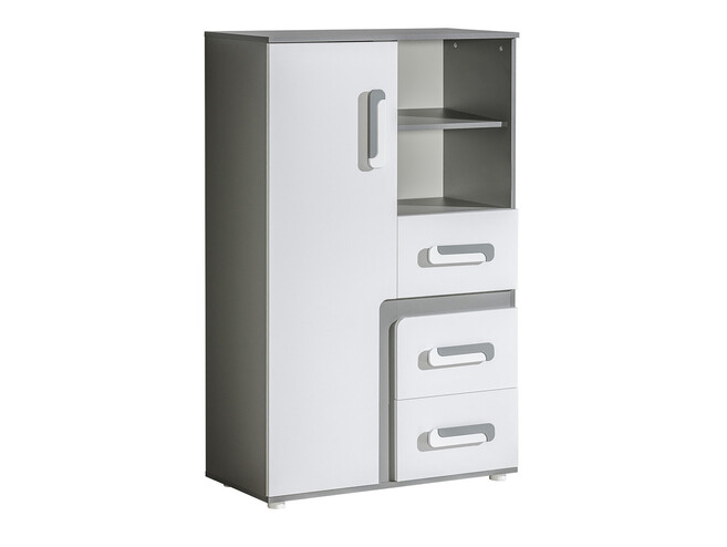 Bookcase Abetito Grey/White