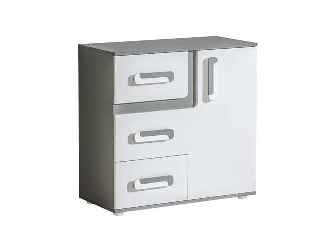 Chest of drawers 85cm Abetito Grey/White