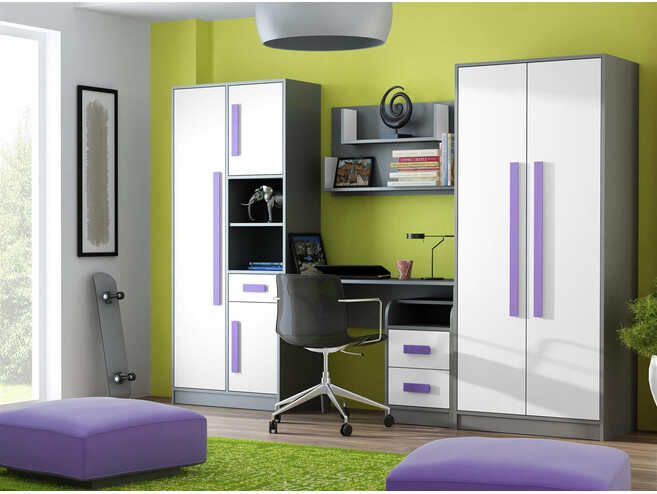 jugendzimmer f r m dchen jungen git 01 5tlg grau weiss violett 601 95. Black Bedroom Furniture Sets. Home Design Ideas