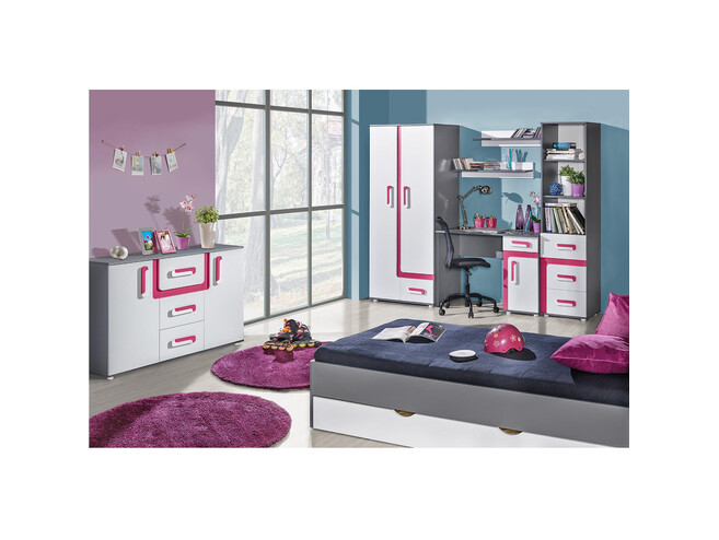 Youth room Nursery Abetito 02 (8-piece) White / Gray / Pink