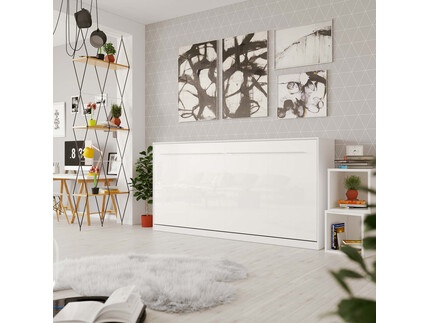 Folding wall bed Standard 90x200 Horizontal White/White...