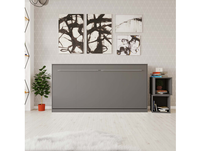 Folding wall bed Standard 90x200 Horizontal Anthracite with Gas pressure Springs