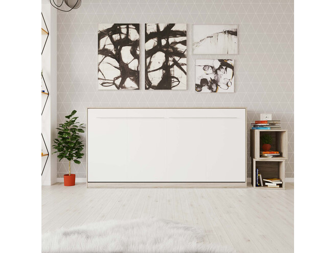 SMARTBett Folding wall bed Standard 90x200 Horizontal Oak Sonoma/White with Gas pressure Springs