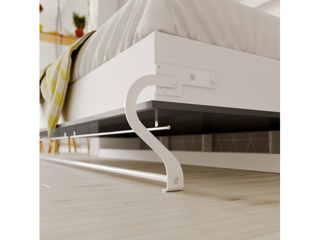 Folding wall bed Standard 90x200 Horizontal White/Anthracite high gloss front with Gas pressure Springs