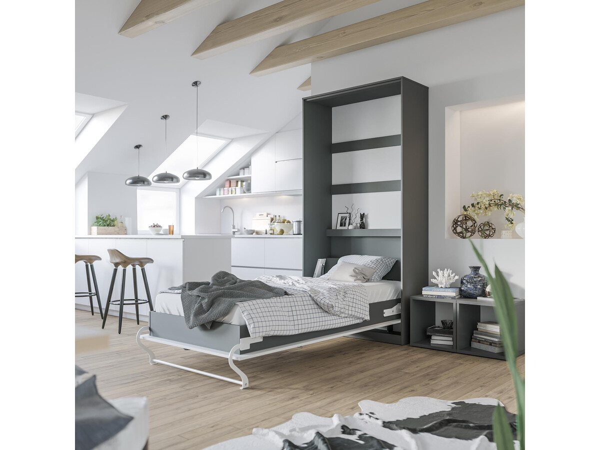 smartbett schrankbett standard 90x200 vertikal anthrazit weiss mit ga 869 95. Black Bedroom Furniture Sets. Home Design Ideas
