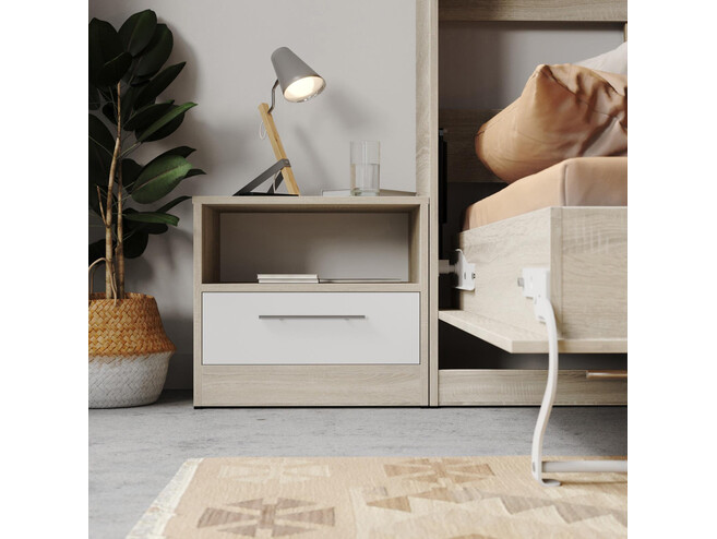 Bedside table Basic / Standard with a drawer Oak Sonoma / White