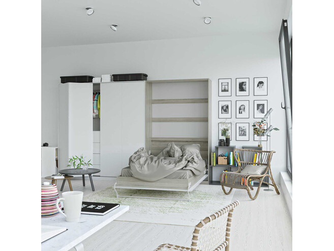 SMARTBett Folding wall bed Standard 120x200 Vertical Oak Sonoma/White high gloss front with Gas pressure Springs