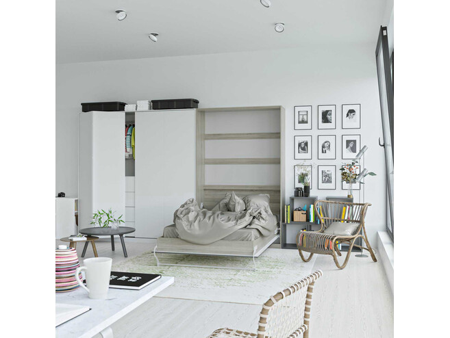 SMARTBett Folding wall bed Standard 120x200 Vertical Oak Sonoma/Anthracite high gloss front with Gas pressure Springs