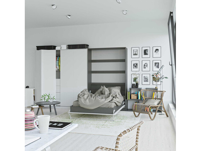 SMARTBett Folding wall bed Standard 120x200 Vertical Anthracite/White high gloss front with Gas pressure Springs