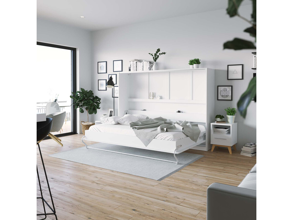 smartbett schrankbett standard 140x200 horizontal weiss mit gasdruckf. Black Bedroom Furniture Sets. Home Design Ideas