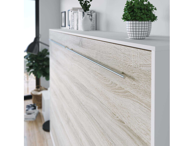 SMARTBett Folding wall bed Standard 140x200 Horizontal White/Oak Sonoma with Gas pressure Springs