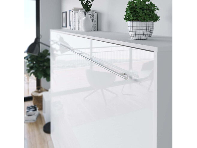 SMARTBett Folding wall bed Standard 140x200 Horizontal White/White high gloss front with Gas pressure Springs