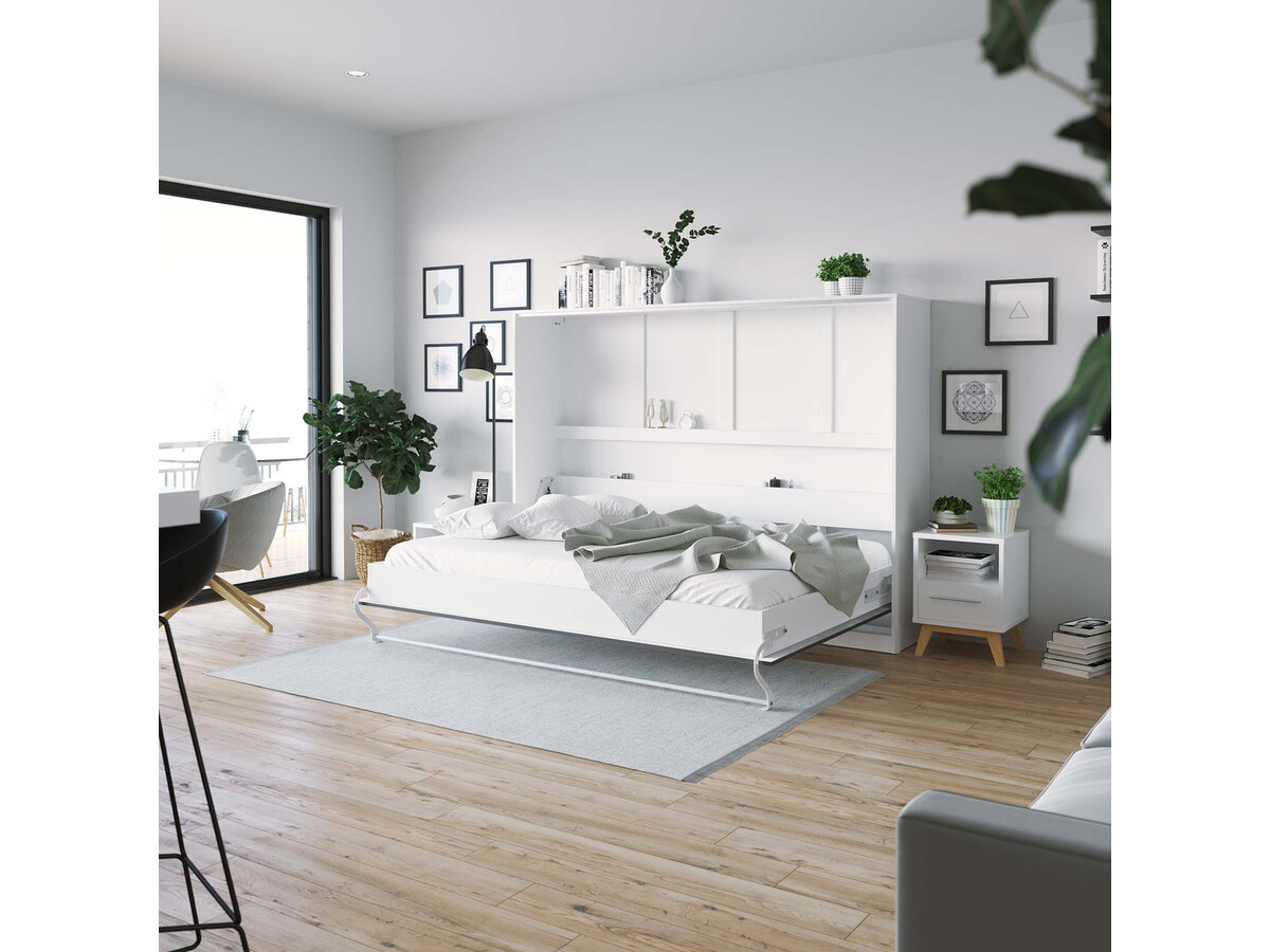 smartbett schrankbett standard 140x200 horizontal weiss anthrazit hoc. Black Bedroom Furniture Sets. Home Design Ideas