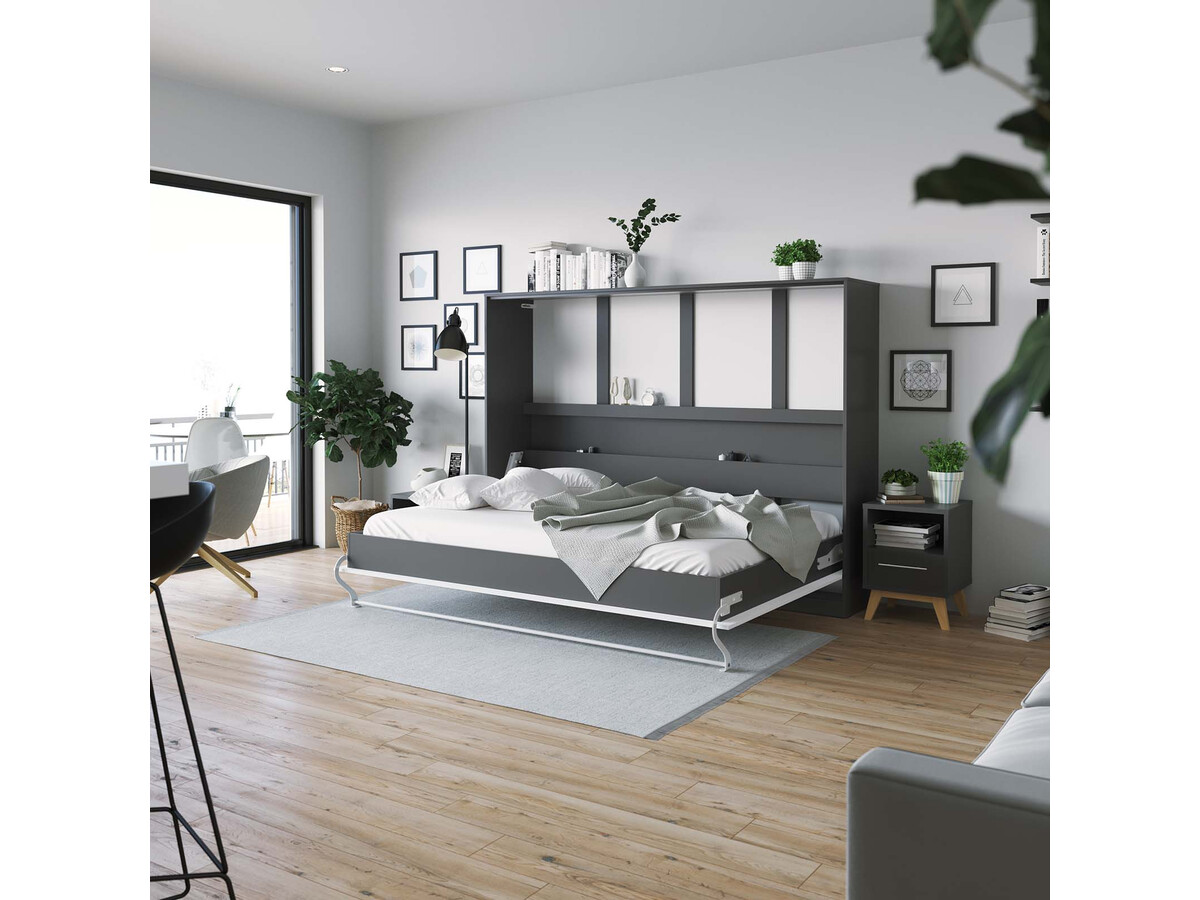 smartbett schrankbett standard 140x200 horizontal anthrazit weiss m. Black Bedroom Furniture Sets. Home Design Ideas