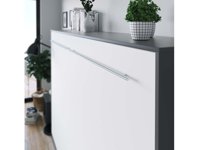 SMARTBett Folding wall bed Standard 140x200 Horizontal Anthracite/White with Gas pressure Springs