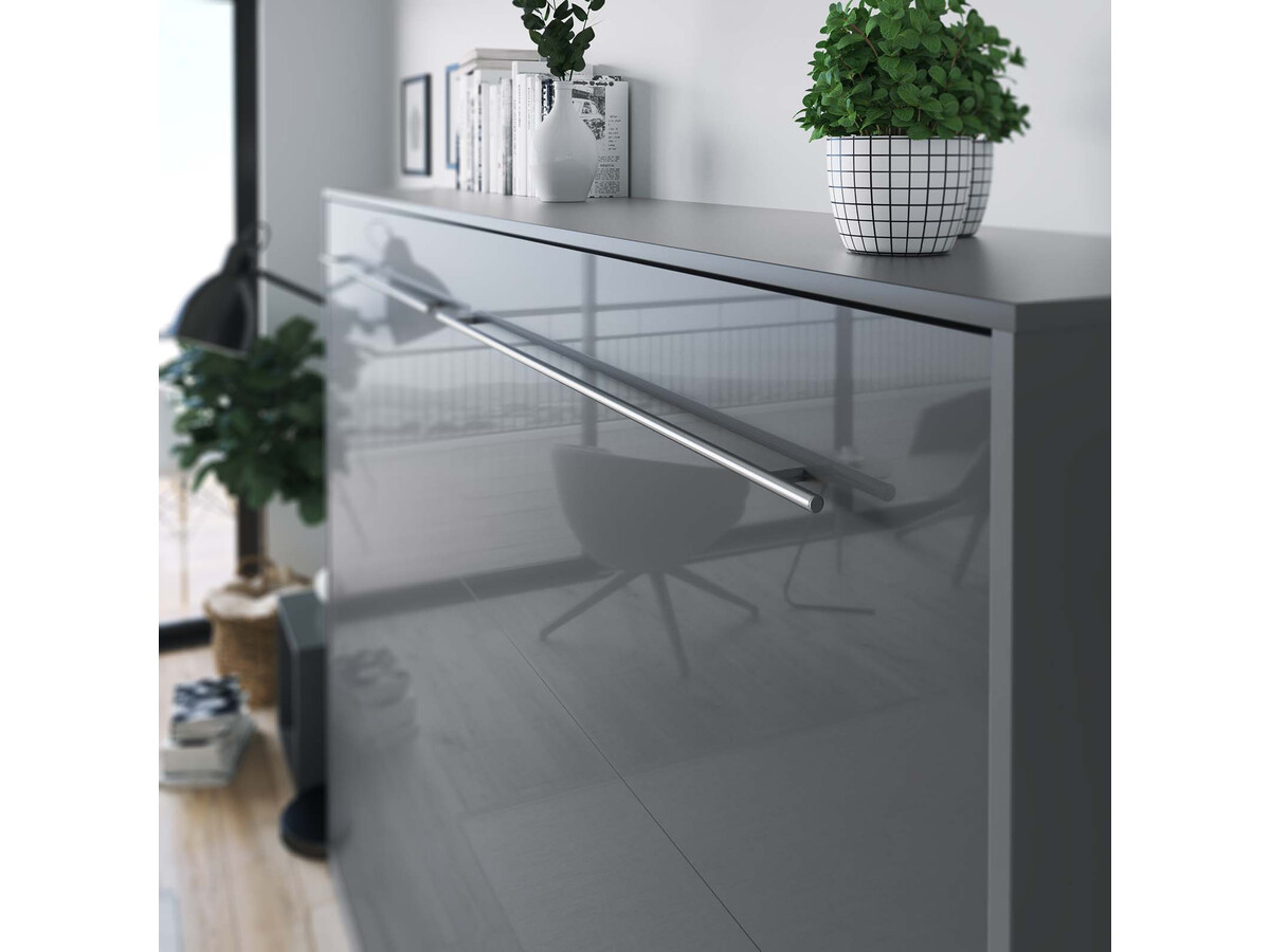 smartbett schrankbett standard 140x200 horizontal anthrazit anthrazit. Black Bedroom Furniture Sets. Home Design Ideas