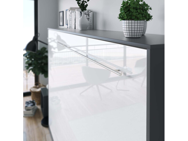 SMARTBett Folding wall bed Standard 140x200 Horizontal Anthracite/White high gloss front with Gas pressure Springs