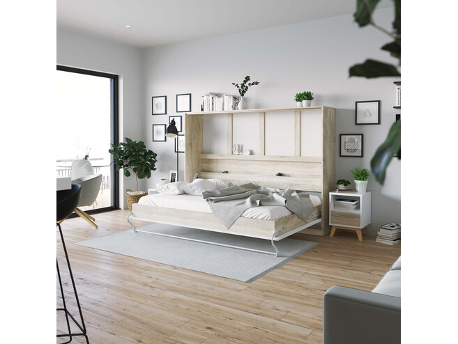 SMARTBett Folding wall bed Standard 140x200 Horizontal Oak Sonoma/White high gloss front with Gas pressure Springs