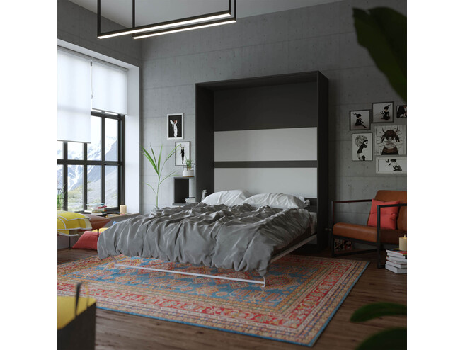 Folding wall bed 160CM Vertical SMARTBett Anthracite/White high gloss front