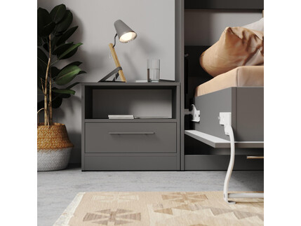 Bedside table Basic / Standard with a drawer Anthracite