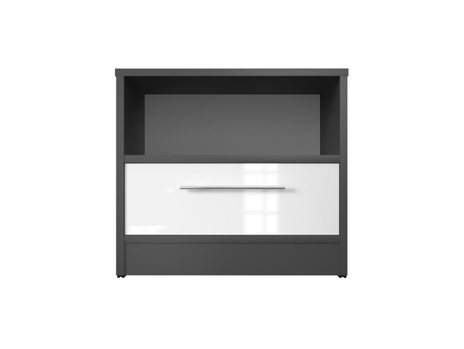Bedside table Basic / Standard with a drawer Anthracite/White high gloss front