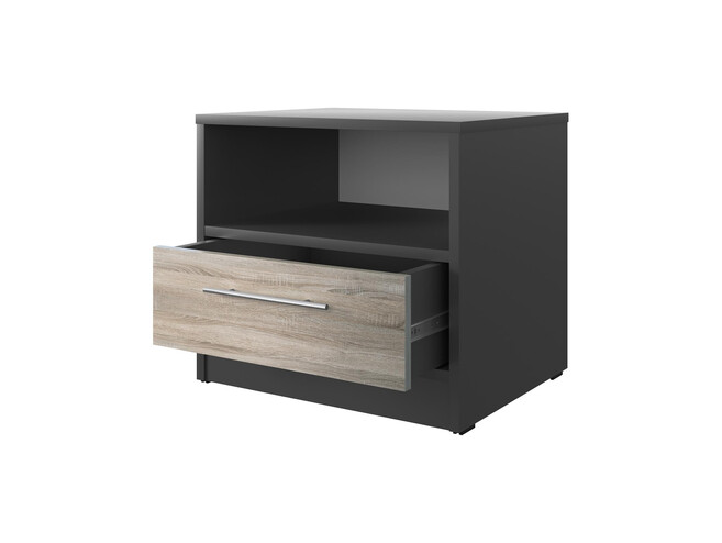 Bedside table Basic / Standard with a drawer Anthracite/Oak Sonoma