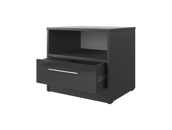 Bedside table Basic / Standard with a drawer Anthracite/Anthracite high gloss front
