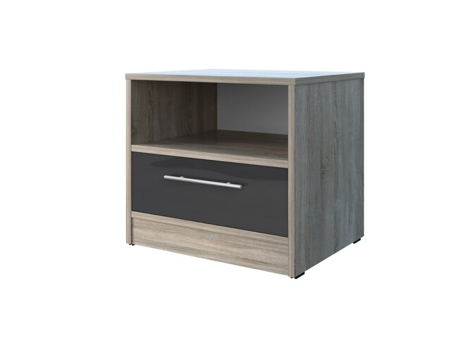 Bedside table Basic / Standard with a drawer Oak Sonoma/Anthracite high gloss front
