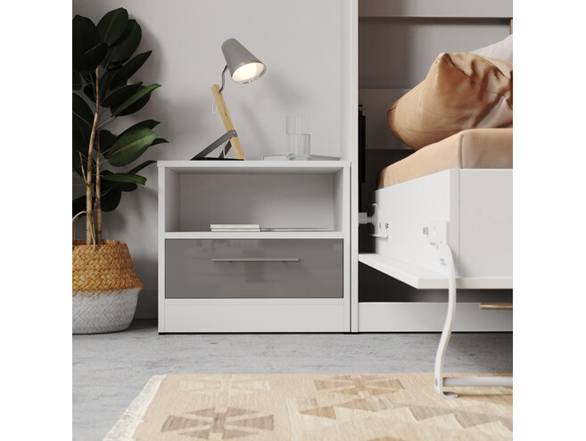 Bedside table Basic / Standard with a drawer White/Anthracite high gloss front
