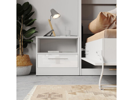 Bedside table Basic / Standard with a drawer White/White...