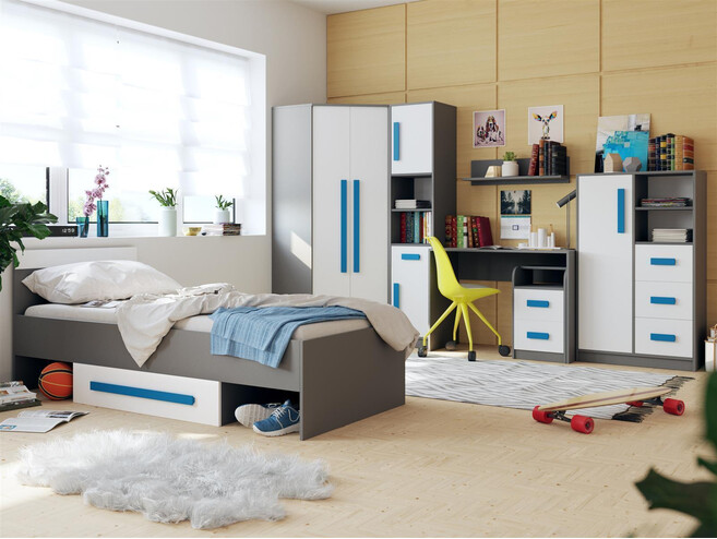 jugendzimmer f r m dchen jungen git 02 7tlg grau weiss blau 918 25. Black Bedroom Furniture Sets. Home Design Ideas