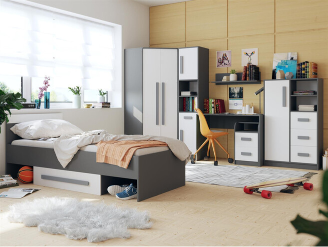 jugendzimmer f r m dchen jungen git 02 7tlg grau weiss. Black Bedroom Furniture Sets. Home Design Ideas