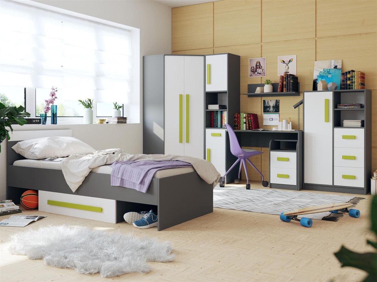 jugendzimmer f r m dchen jungen git 02 7tlg grau weiss gr n 918 25. Black Bedroom Furniture Sets. Home Design Ideas