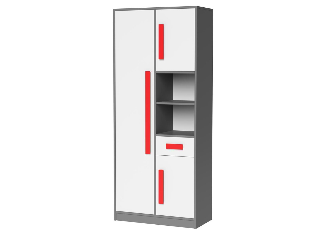 jugendzimmer f r m dchen jungen git 01 5tlg grau weiss rot 601 95. Black Bedroom Furniture Sets. Home Design Ideas