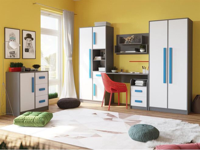 Youth room for girls and boys GIT 03 (6ps) Grey/White/Blue ...