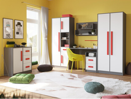 kinderbett jugendbett git mit 1 schublade grau weiss rot. Black Bedroom Furniture Sets. Home Design Ideas