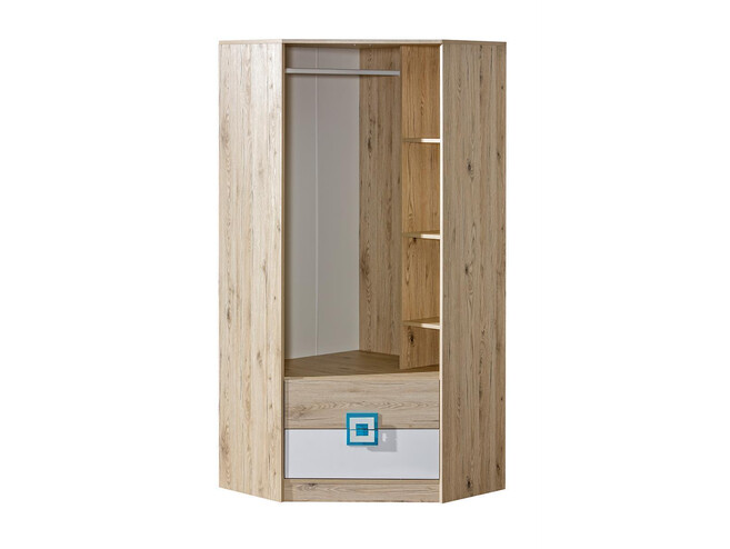 new concept 29d48 48db3 NIKI Corner Wardrobe 2-door with 2 drawers White / Oak / Turquoise