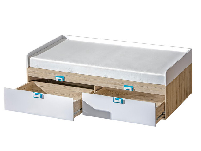 NIKI children's bed with 2 drawers white / oak / turquoise