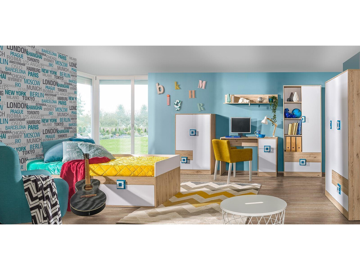 niki kinderzimmer jugendzimmer 01 6 tlg wei eiche t rkis. Black Bedroom Furniture Sets. Home Design Ideas
